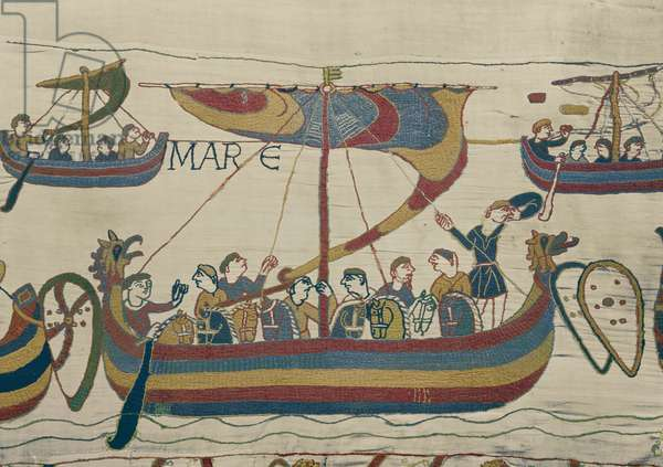 The Norman invasion fleet crosses the channel, Bayeux Tapestry (wool embroidery on linen)