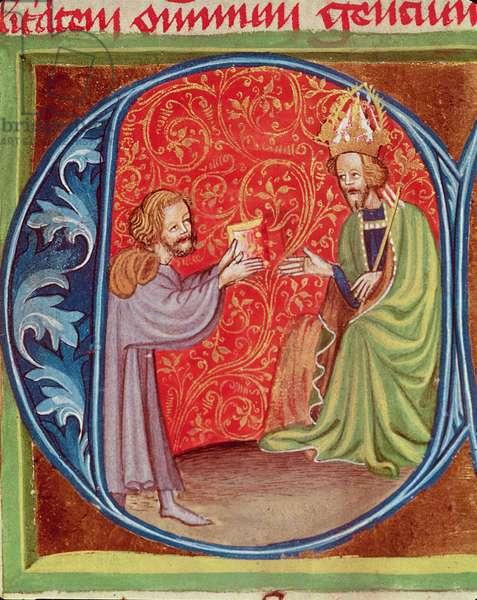 The Author Offering his Book to Charles IV (1316-78) of Bohemia, from 'Opus Ruralium Commodorum' by Pietro de Crescenzi (1230-1321) (vellum)