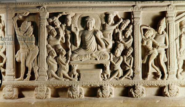 Relief depicting seated Buddha preaching surrounded by worshippers, Mathura School (stone)