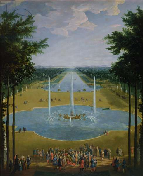 View of the Bassin d'Apollon in the gardens of Versailles, 1713 (oil on canvas)
