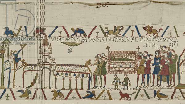 The Body of Edward the Confessor is carried to the Church of St. Peter the Apostle, Bayeux Tapestry (wool embroidery on linen)