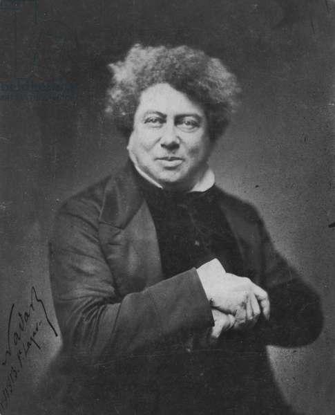 Portrait of Alexandre Dumas, 1855 (b/w photo)
