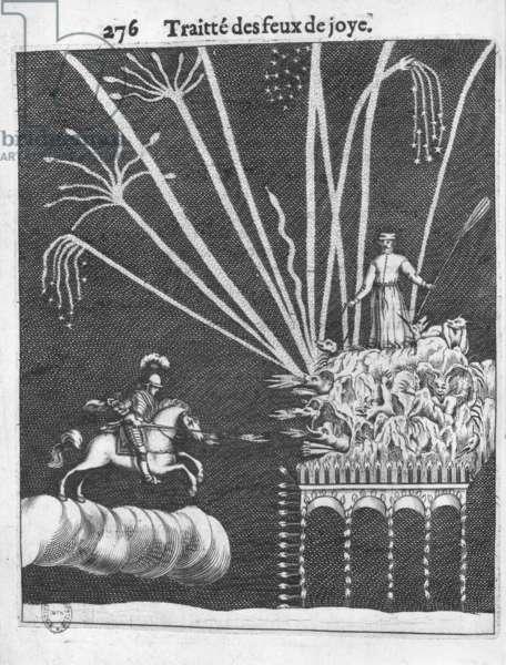 Treatise of Bonfires, illustration from 'Pratique de la Guerre' by Francois Malthus, Paris, 1656 (engraving) (b/w photo)