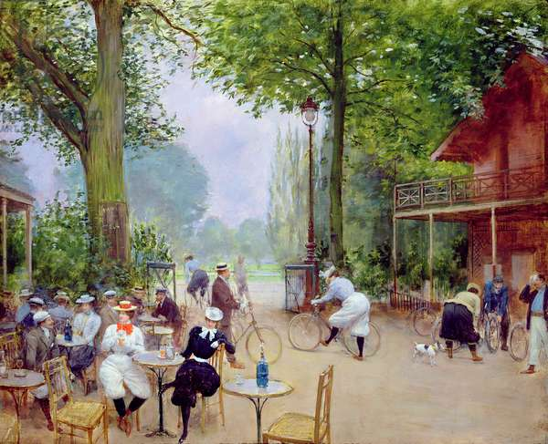 The Chalet du Cycle in the Bois de Boulogne, c.1900 (oil on panel)