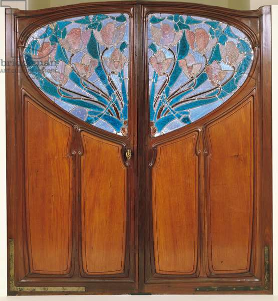 Double door, designed by Jacques Gruber (1870-1936) Emile Andre (1880-1941) and Eugene Vallin (1856-1922) for Vaxelaire et Cie, 1901 (wood & stained glass)