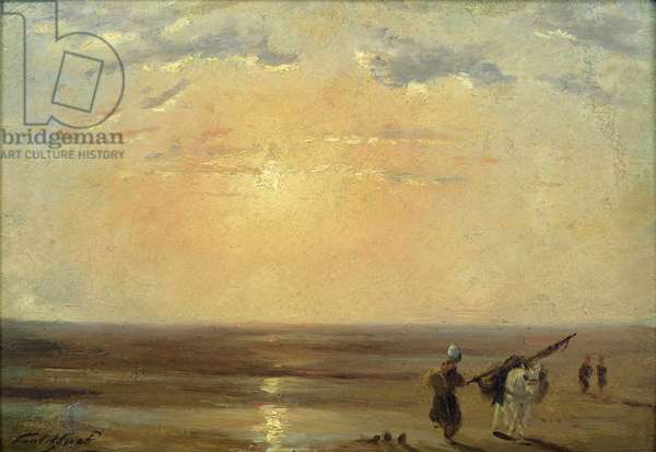 The Beach at Trouville with Setting Sun (oil on panel)