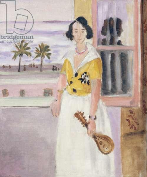 Woman with mandolin, c.1921-22 (oil on canvas)