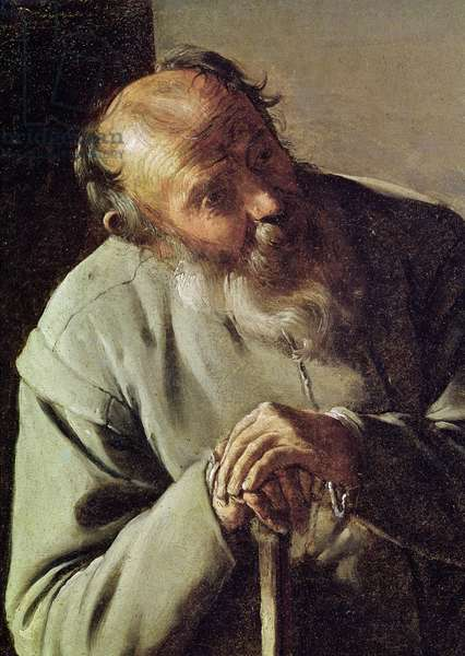 An Old Man, detail of the head, c.1618-19 (oil on canvas)