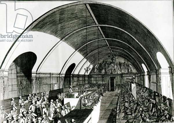 A Meeting of the Jacobin Club, 1791 (engraving) (b/w photo)