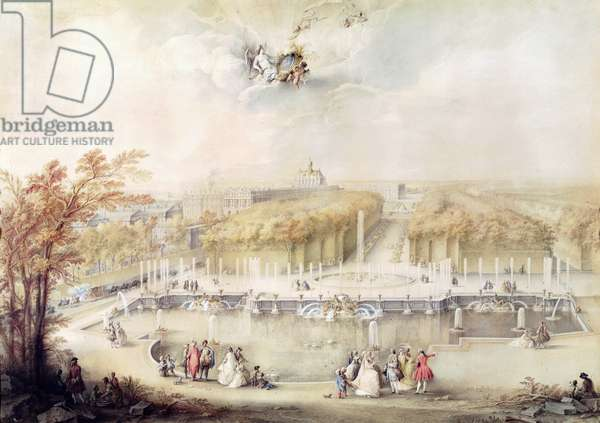 View of the Gardens and the Chateau of Versailles from the Neptune Fountain (gouache)