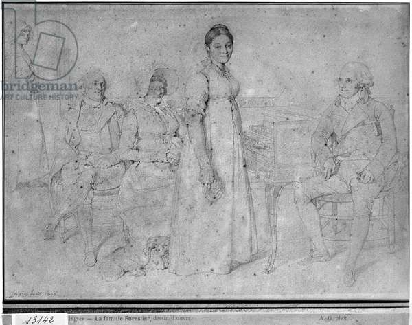 The Forestier Family, 1806 (graphite on paper) (b/w photo) (see also 233242)