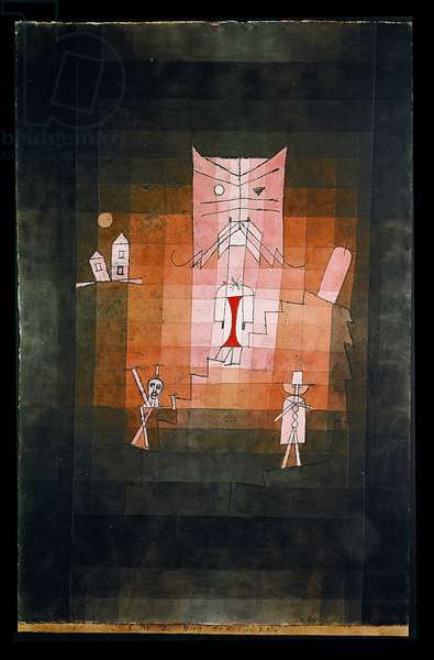 The Mountain of the Sacred Cat, 1923 (no 120) (oil transfer drawing pencil and w/c on paper)