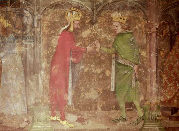 The Holy Roman Emperor Charles IV receiving a thorn from the crown of Christ from the French king, Jean II, from the chapel of Our Lady, 1357-60 (fresco) (see also 204544 and 397961)