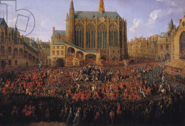 The Departure of Louis XV (1710-74) from Sainte-Chapelle after the 'lit de justice' which ended the reign of Louis XIV (1638-1715) 12th September 1715, 1735 (oil on canvas)