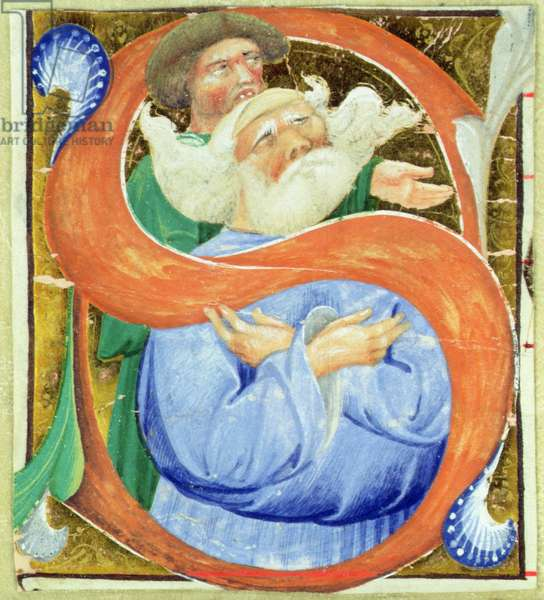 Historiated initial 'S' depicting an old man praying (vellum)