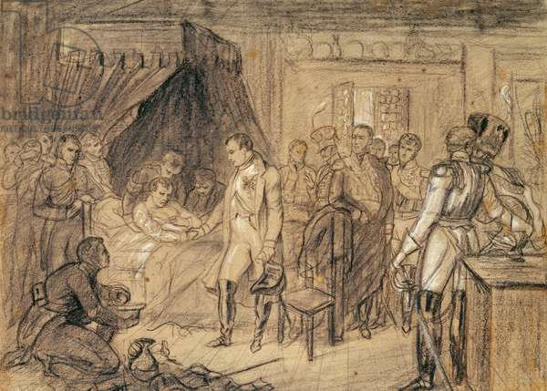 The Death of Marshal Jean Lannes (1769-1809) Duke of Montebello (pencil on paper)