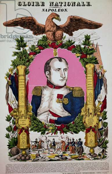 Portrait of Napoleon I (1769-1821) in commemoration of the Battle of Austerlitz, 2nd December 1805, engraved by Jean-Baptiste Thiebault (coloured engraving)