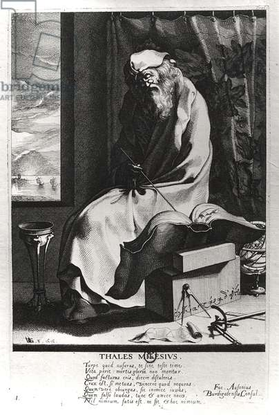 Thales of Miletus (c.625-c.547 BC) (engraving) (b/w photo)