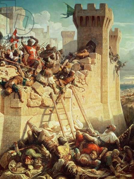 Guillaume de Clermont defending Ptolemais (Acre) in 1291, 1845 (oil on canvas)