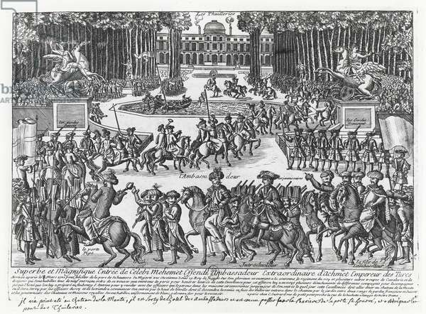 The arrival of Mehmed Celebi Efendi, ambassador of Sultan Ahmed III of Turkey, at the Tuileries to be received by Louis XV in 1721 (engraving)