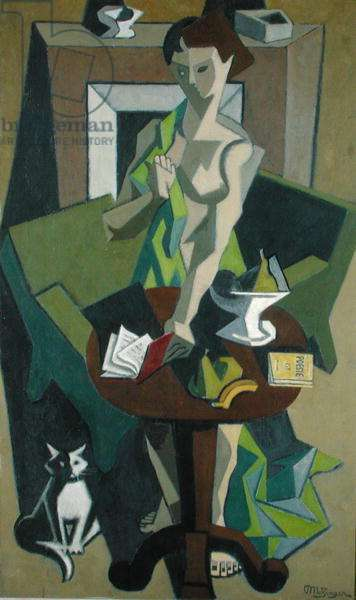 The Green Dress (oil on canvas)