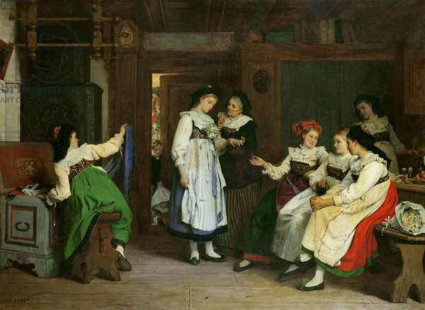 A Wedding in Lower Alsace (oil on canvas)