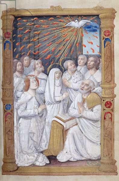 Fol.48r Pentecost, from 'Heures a l'Usage de Rome' (vellum)