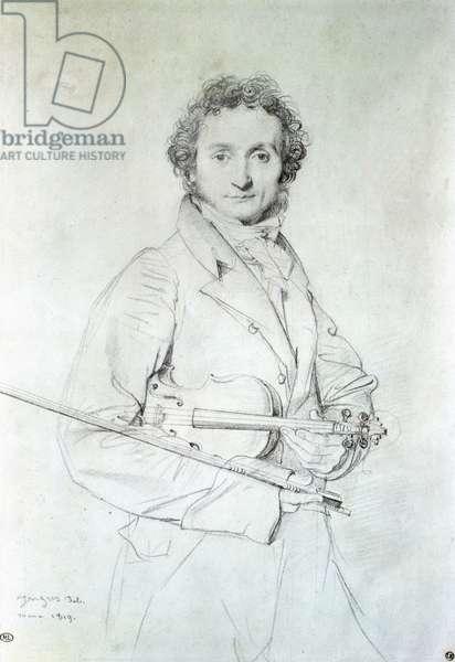 Portrait of Niccolo Paganini (1782-1840) 1819 (pencil on paper)