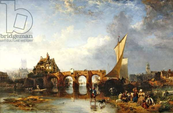 The Pont des Treilles on the river Maine at Angers (oil on canvas)