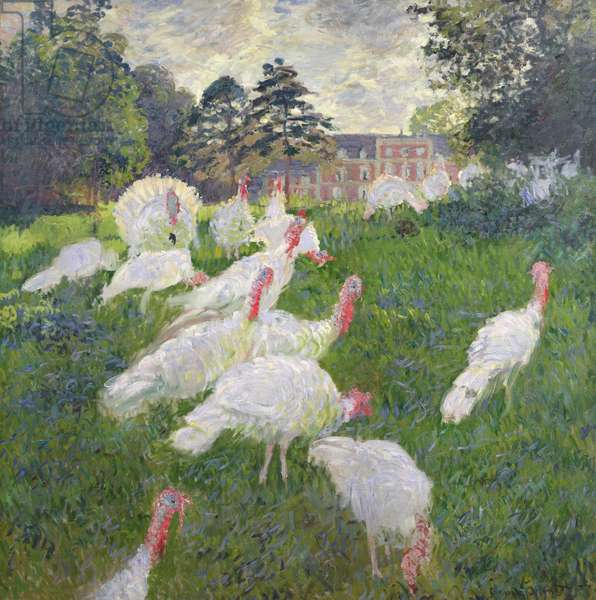 The Turkeys at the Chateau de Rottembourg, Montgeron, 1877 (oil on canvas_