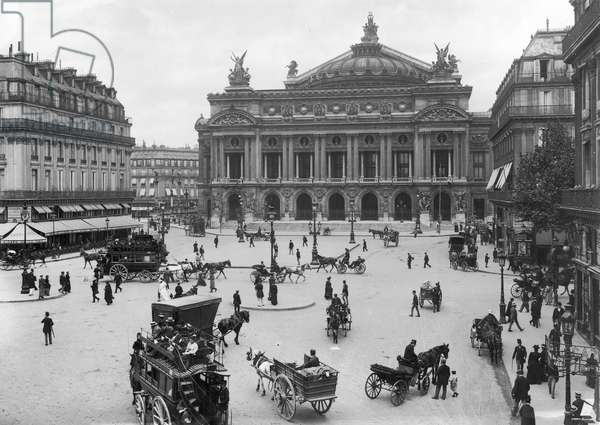 General view of the Paris Opera House, late 19th century (b/w photo)