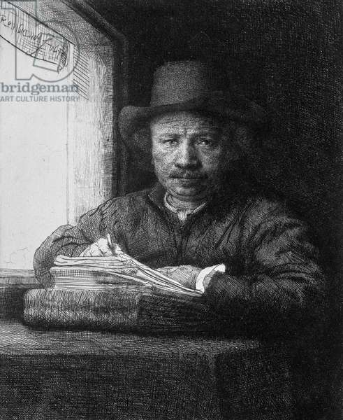 Self portrait while drawing, 1648 (etching) (b/w photo)