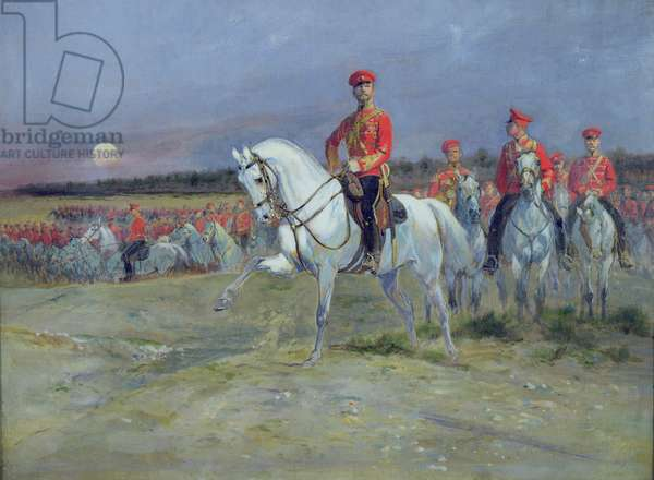 Tsarevich Nicolas (1894-1917) Reviewing the Troops, 1899 (oil on canvas)