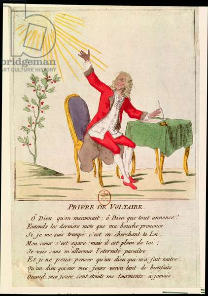 The Prayer of Voltaire (coloured engraving)