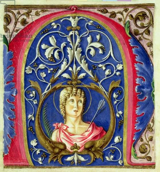 Historiated initial 'N' depicting St. Sebastian (vellum)