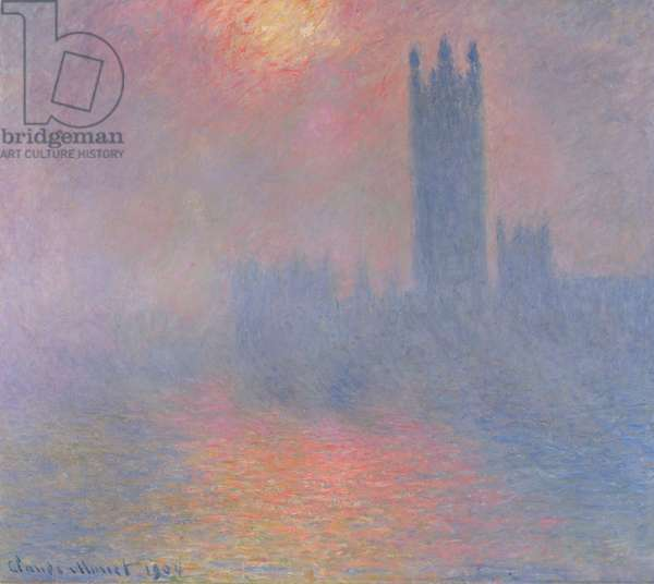 The Houses of Parliament, London, with the sun breaking through the fog, 1904 (oil on canvas)