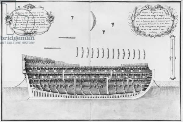 Cross-section of a launched vessel, illustration from the 'Atlas de Colbert', plate 31 (pencil & w/c on paper) (b/w photo)