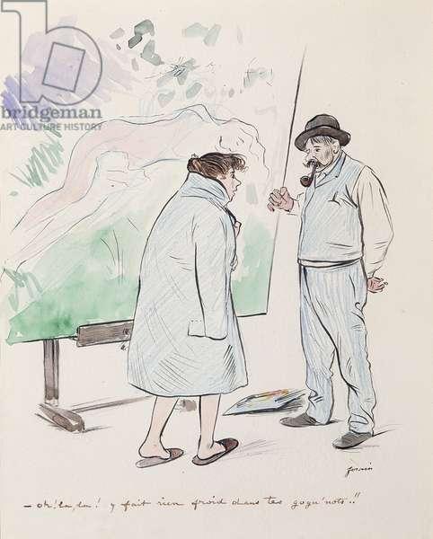 'Oh la, la! Y Fait Rien Froid dans tes Gogu'notes!!' (pencil and watercolour on paper)