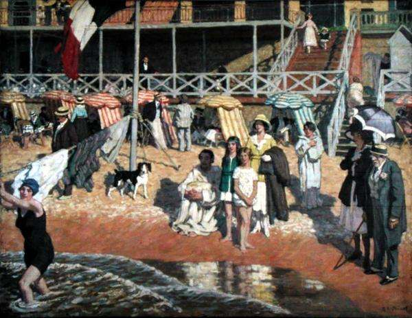 Bathers in Front of the Grand Hotel, Cabourg, c.1920 (oil on panel)