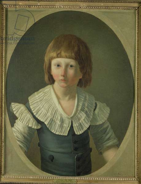 Louis XVII (1785-95) aged 8, at the Temple, 1793 (oil on canvas)