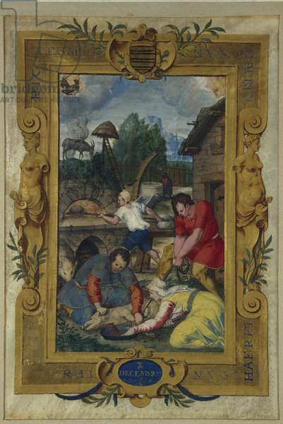 Calendar page for December, slaughtering of the pig, from a book of hours, c.1550-60 (vellum)