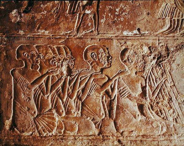 Relief depicting blind singers and a harpist, from the Tomb of Meryre, New Kingdom (stone)