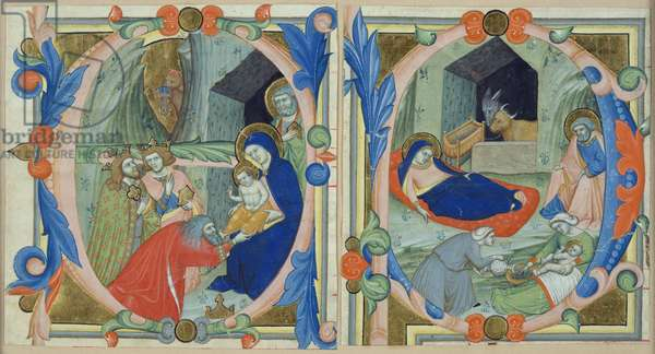 The Adoration of the Magi, in the initial 'E', and the Nativity, in the initial 'F' ? (vellum & gold)