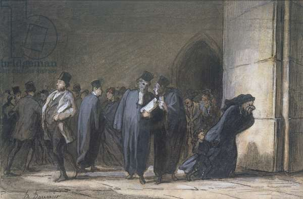 At the Palace of Justice, c.1862-65 (pen & ink, gouache and w/c on paper)
