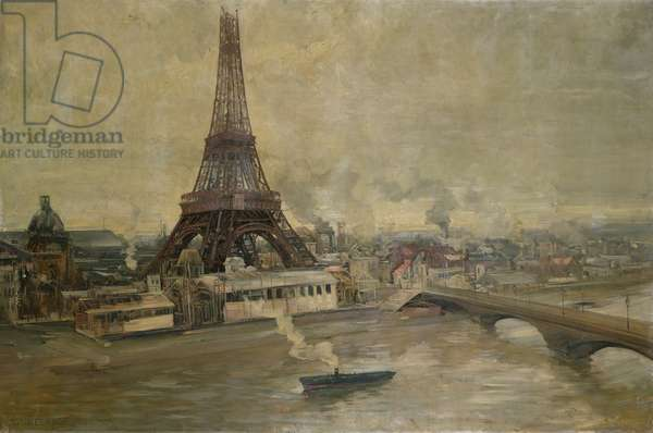 The Construction of the Eiffel Tower, January 1889 (oil on canvas)