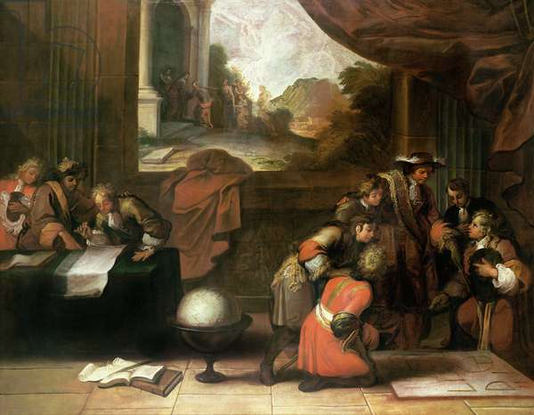 Interior of a Room with Geographers and Mathematicians, c.1680-90 (oil on canvas)
