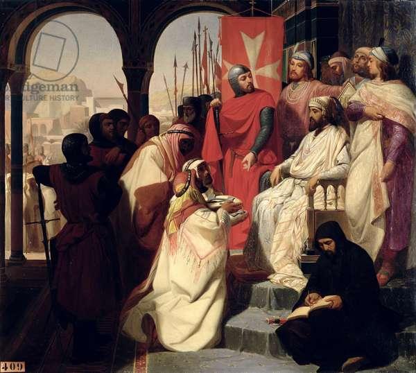 Knights of the Order of St. John of Jerusalem restoring religion in Armenia in 1347, 1844 (oil on canvas)