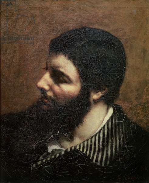 Self Portrait with Striped Collar (oil on canvas)