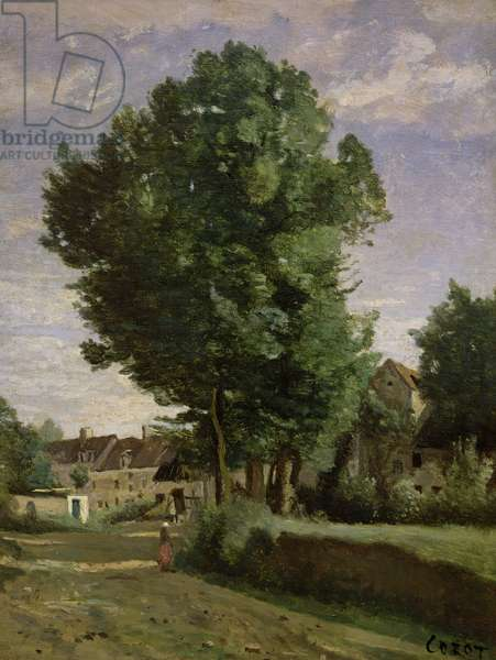 Outskirts of a village near Beauvais, c.1850 (oil on canvas)
