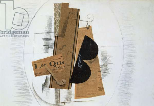 Violin and Pipe, or The Daily Paper, 1913-14 (charcoal, collage, paper & paint on card)